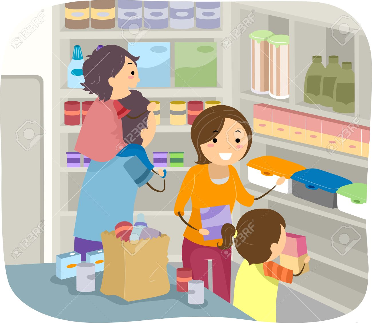 Illustration of a Family Stocking Their Shelves with Goods Stock Vector - 28966202