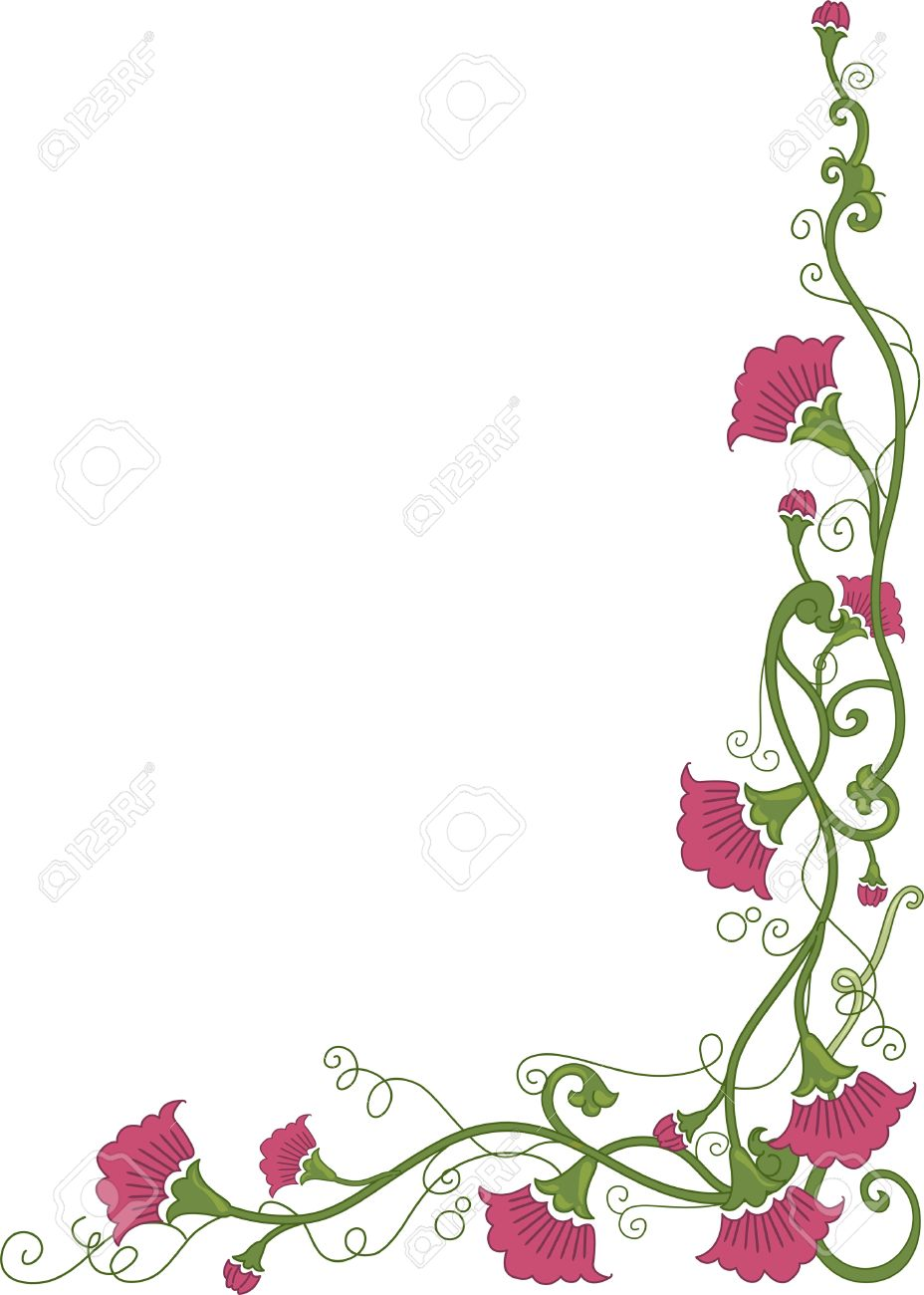 Corner Border Illustration Featuring Flowers Wrapped Around in..