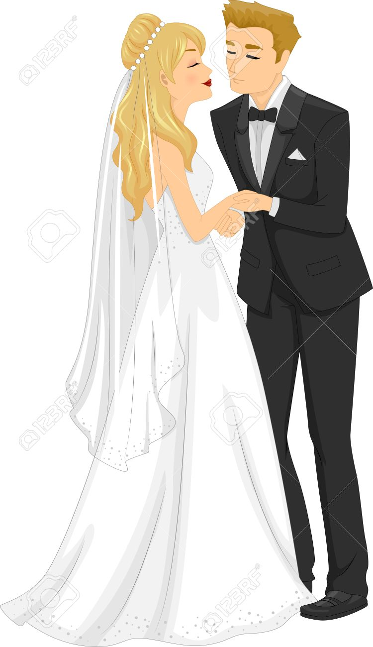 キスの新婚カップルのイラスト ロイヤリティフリークリップアート