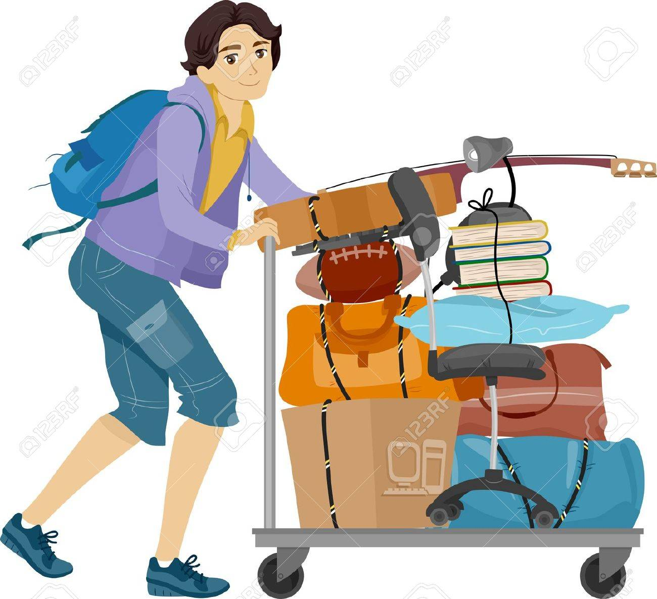 illustration of a male college student moving into the dormitory rh 123rf com college student clipart free tired college student clipart