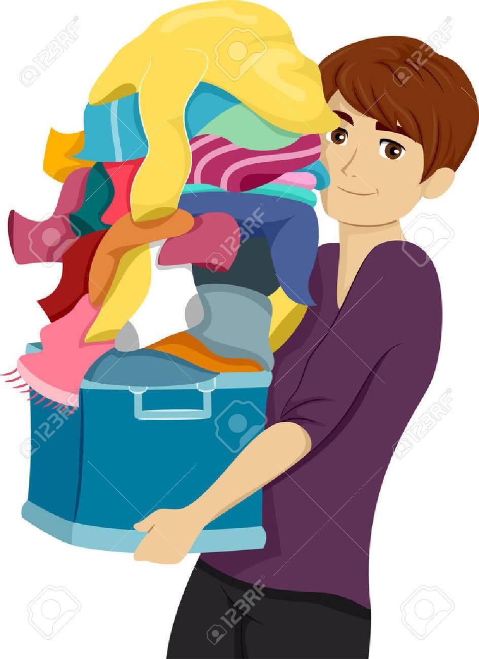 洗濯物の山を運ぶ男性大学生のイラストのイラスト素材ベクタ Image