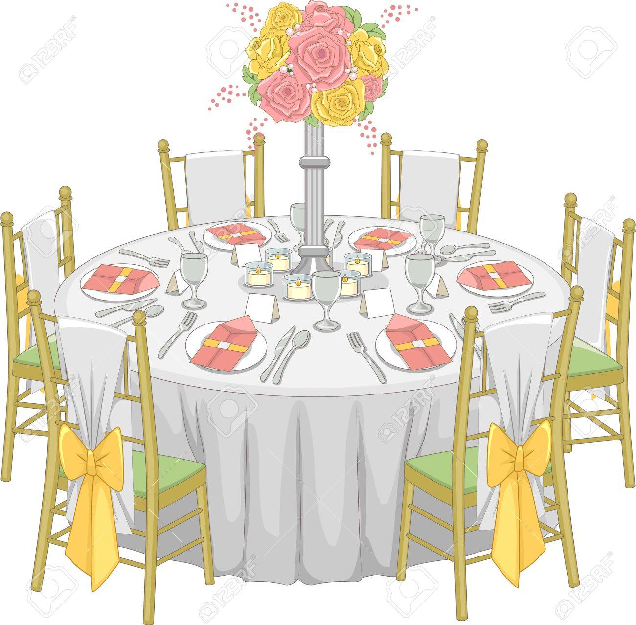 Illustration of a Formal Table Set-up at a Reception Hall Stock Vector - 29410116  sc 1 st  123RF.com & Illustration Of A Formal Table Set-up At A Reception Hall Royalty ...