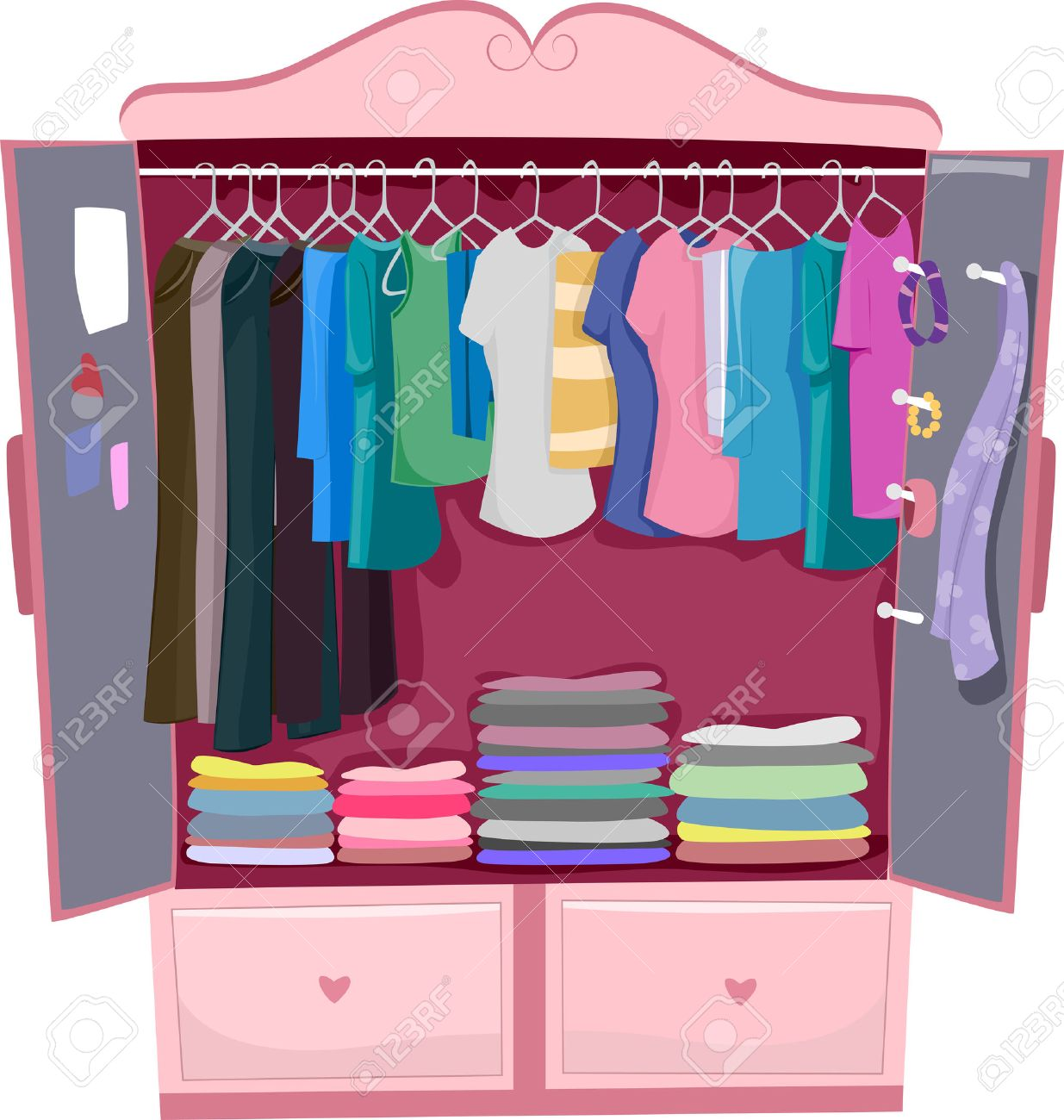 Illustration of a Pink Wardrobe Full of Women's Clothes - 29410152