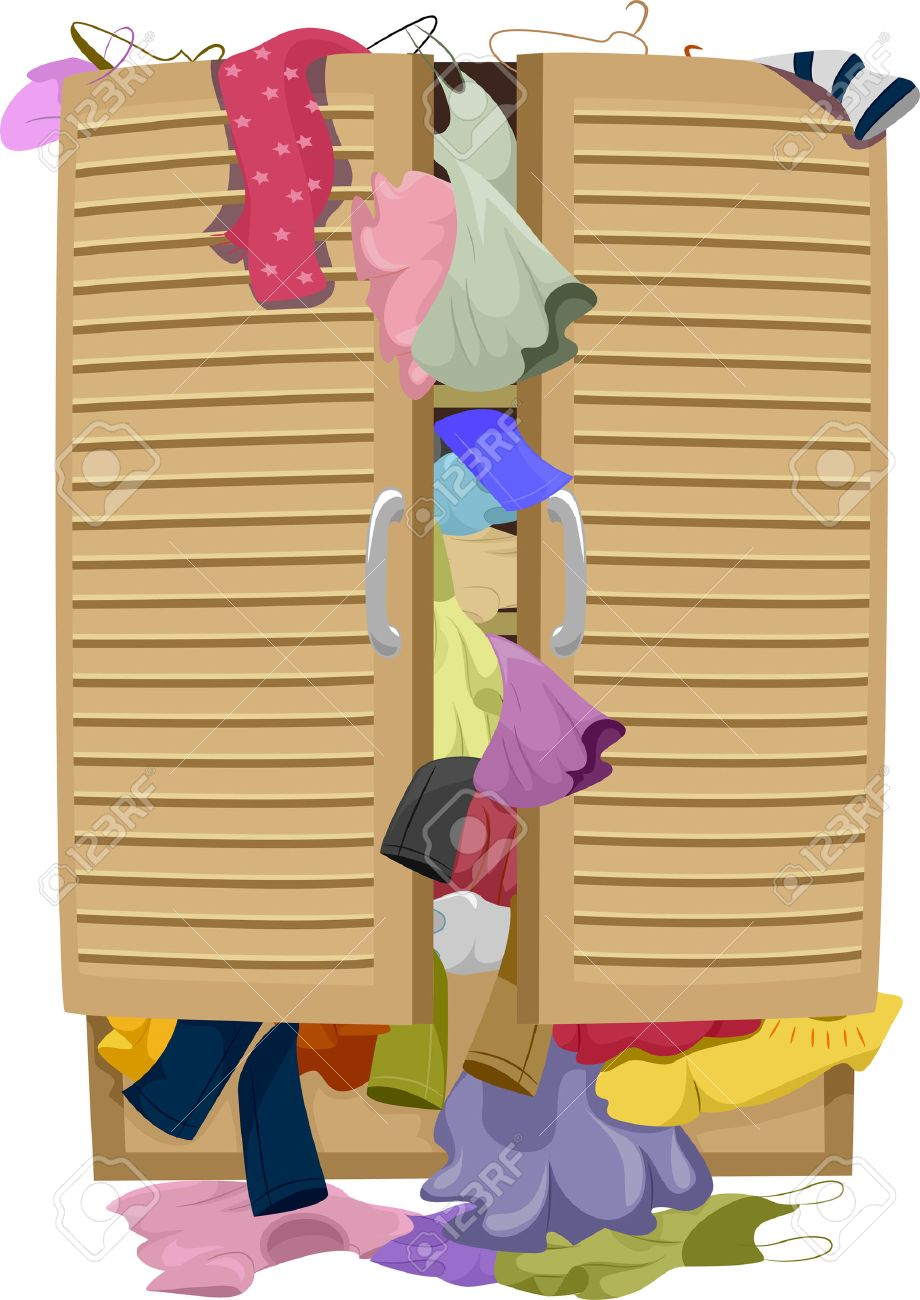 Illustration Of A Closet Overflowing With Clothes Banque Dimages