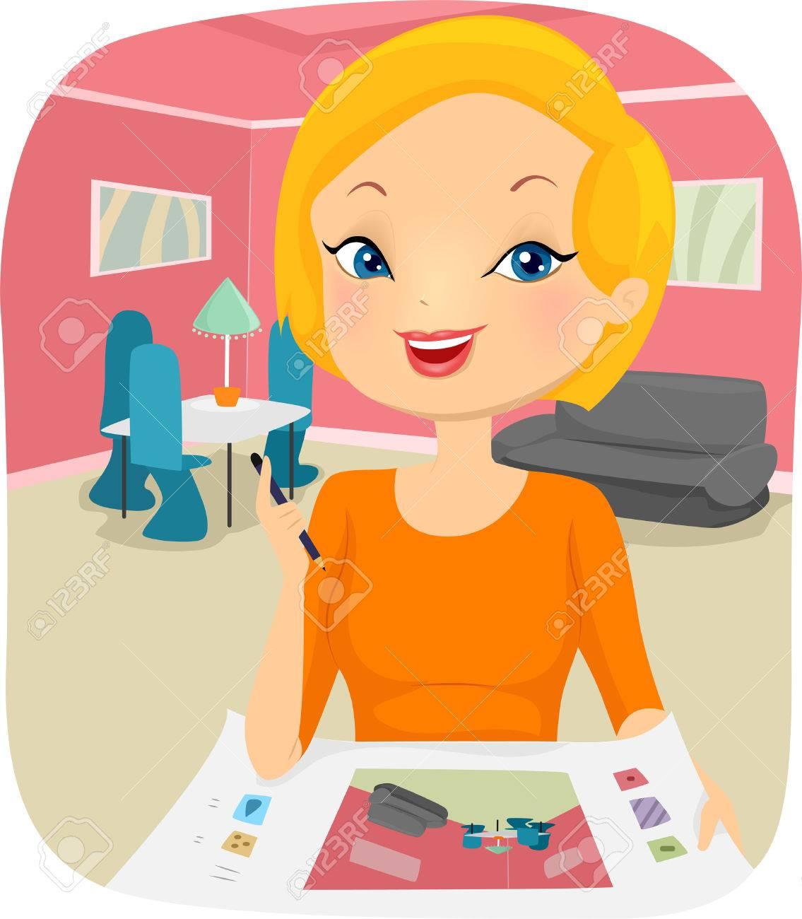 illustration of a female interior designer planning the design rh 123rf com Fashion Designer Clip Art interior design clipart free