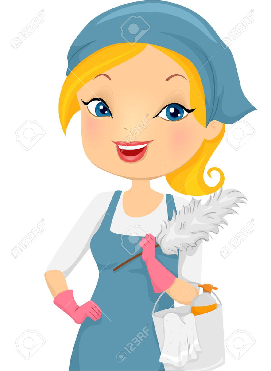 826 Housekeeper Cleaning Stock Vector Illustration And Royalty ...