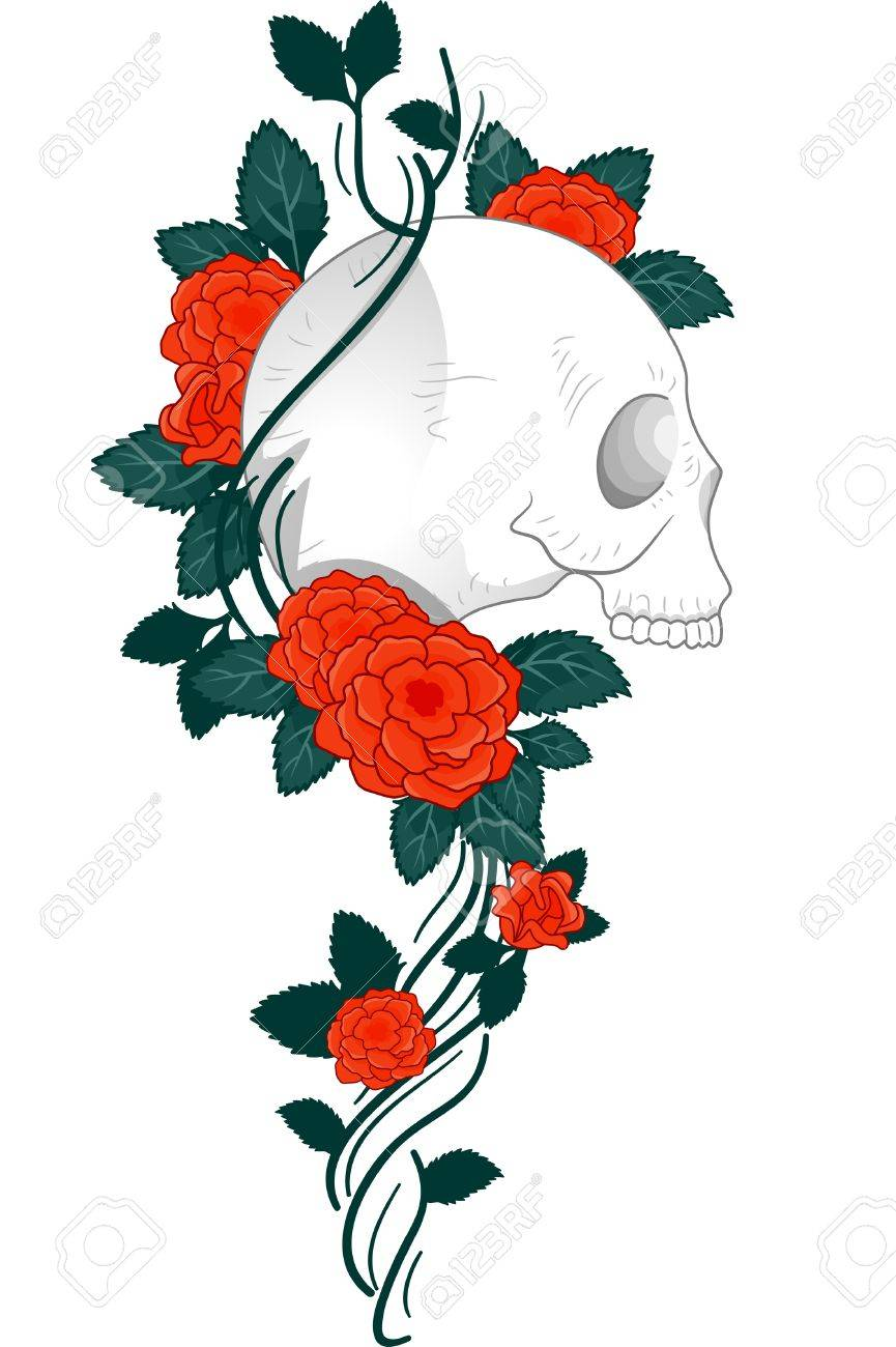 Illustration Of A Tattoo Design Featuring A Skull With Vines