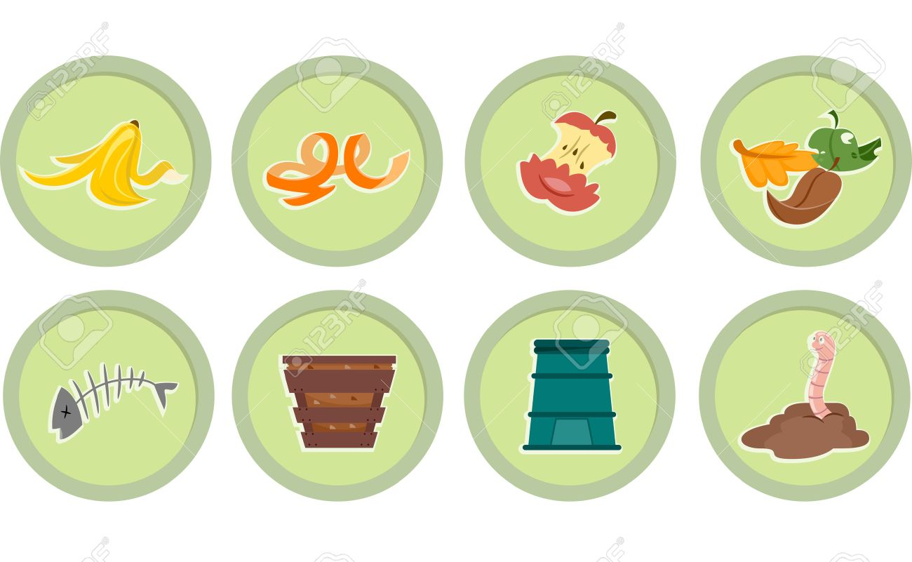 Illustration Of Ready To Print Stickers Featuring Composting ...