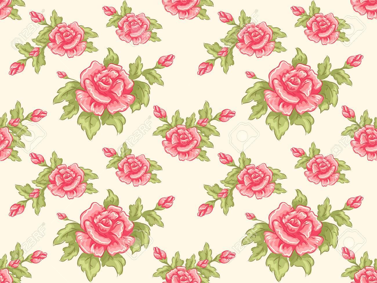 シームレスな花柄のデザインの特徴の背景イラスト ロイヤリティフリー