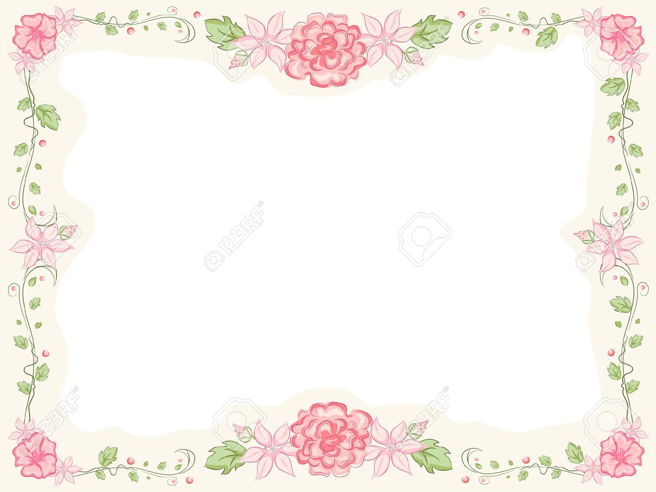Shabby Chic-Themed Frame Featuring Intertwined Flowers Royalty Free ...