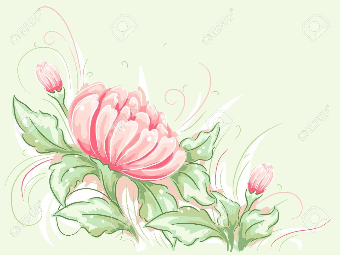 睡蓮を備えぼろぼろのシックなテーマ イラストのイラスト素材ベクタ