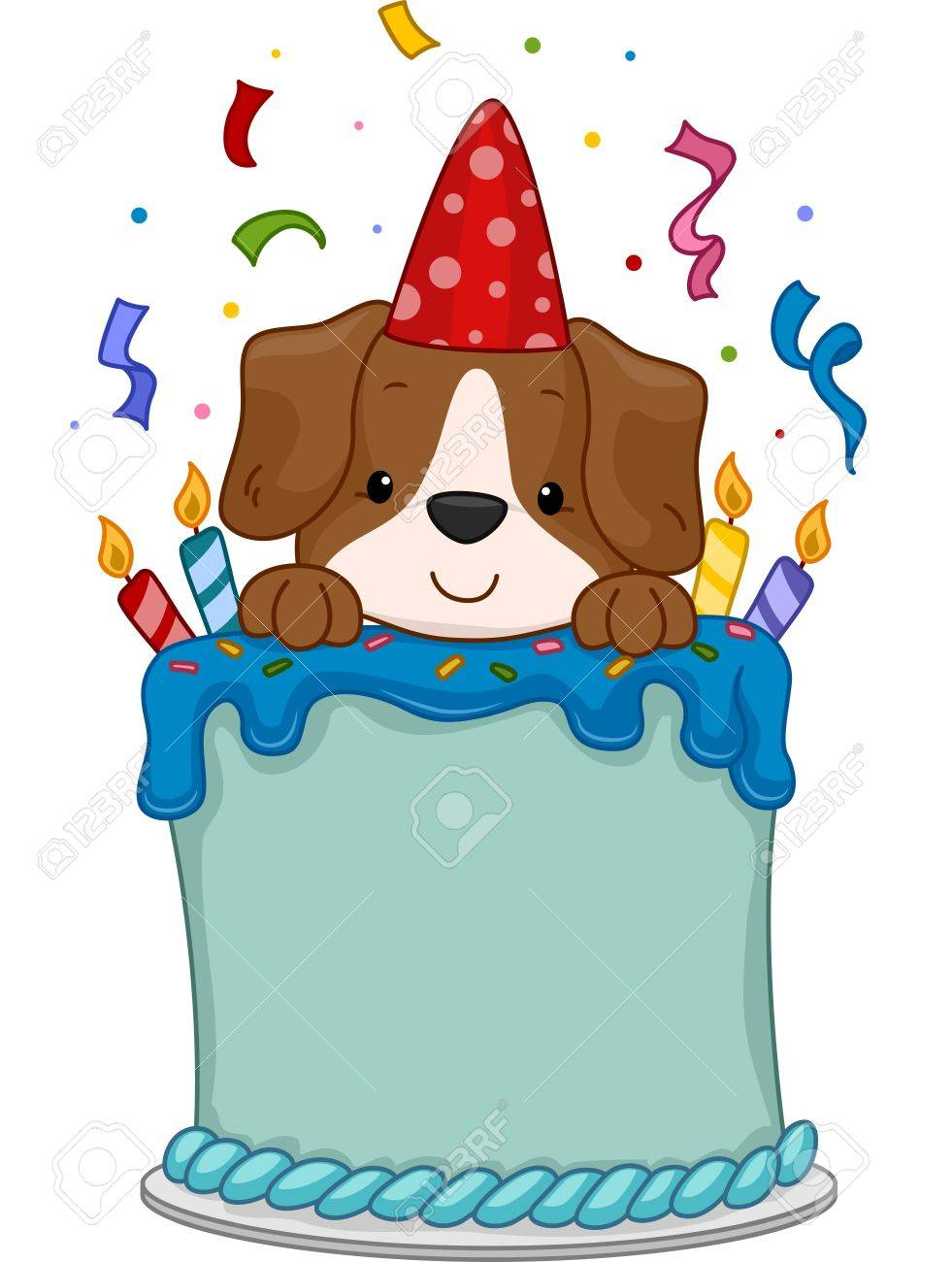 Illustration Of A Cute Dog Sitting On A Birthday Cake Royalty Free