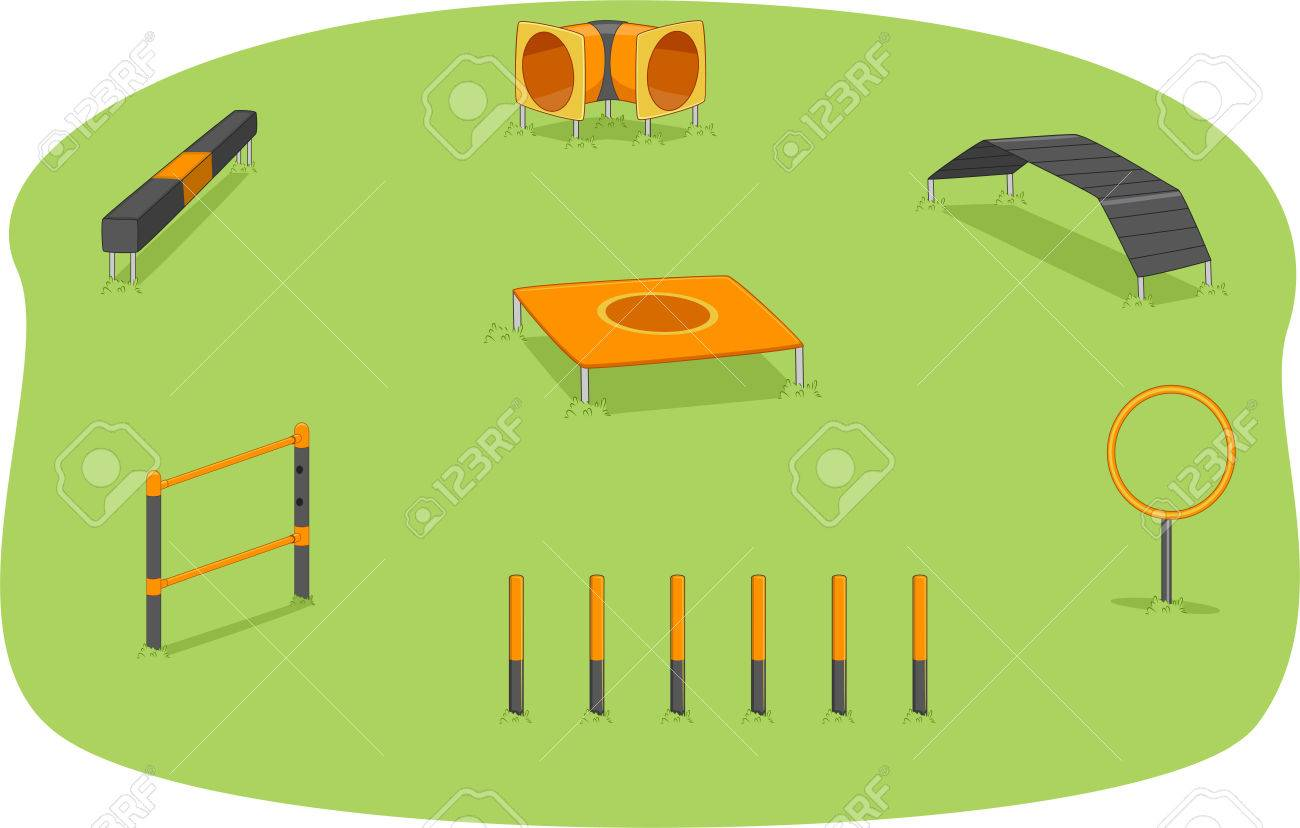 Illustration of a Park Where Agility Training for Dogs is Usually Held - 30121571