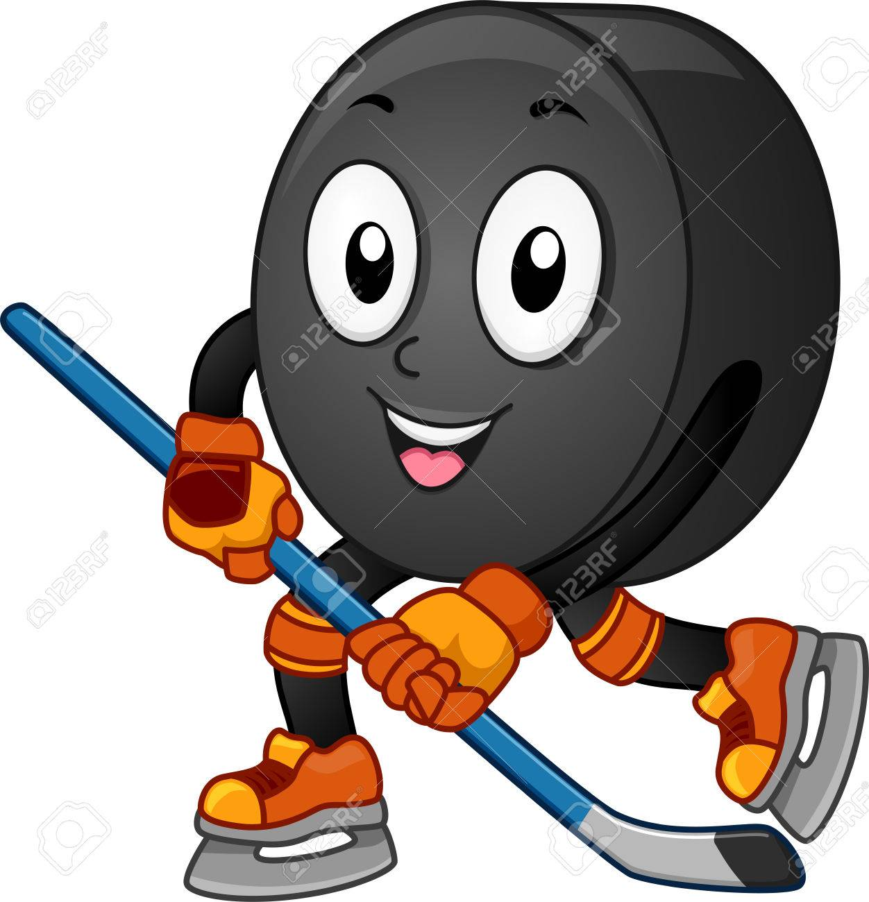 mascot illustration featuring an ice hockey puck gliding across rh 123rf com flaming hockey puck clipart hockey stick and puck clipart