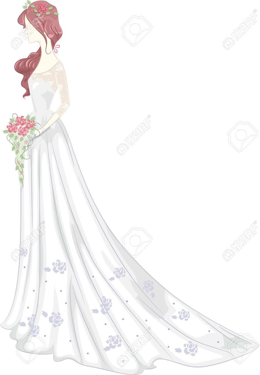 Illustration Einer Braut Trägt Ein Brautkleid Mit Einer Shabby Chic ...