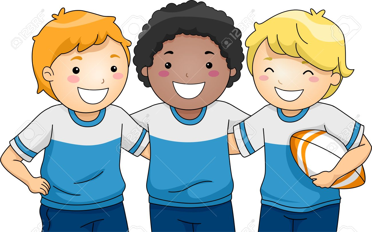 illustration featuring a group of smiling boys wearing rugby rh 123rf com Balloon Clip Art Girl Clip Art