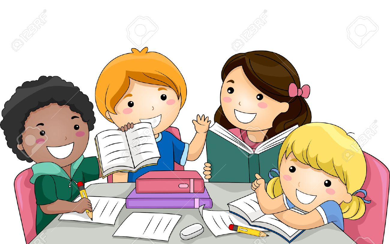 illustration featuring a group of kids studying together royalty