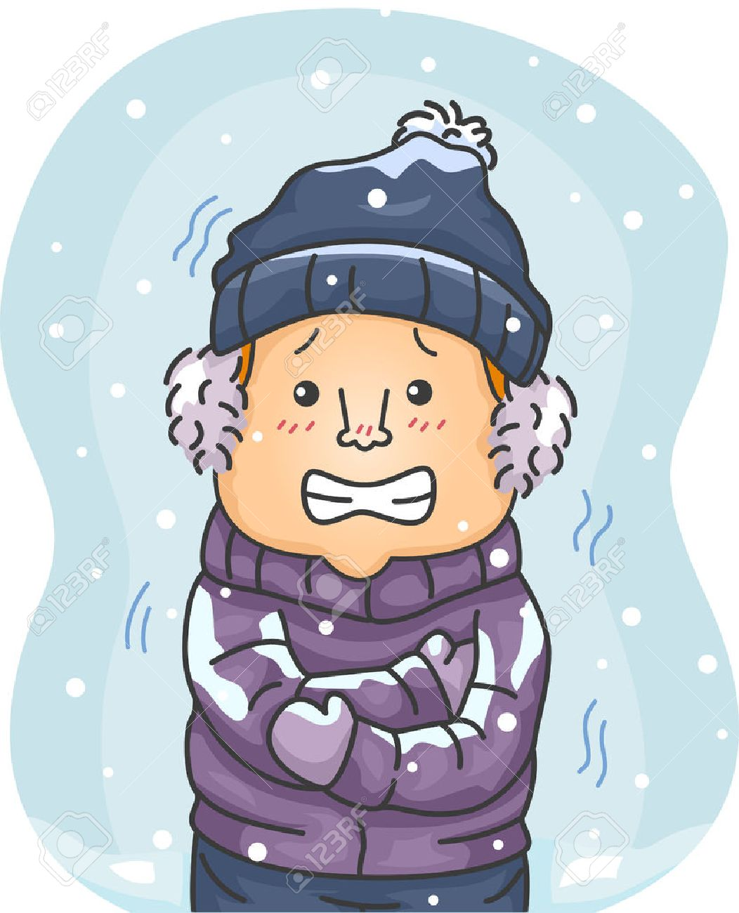 Illustration of a Man in Winter Clothes Shivering Hard Because of the Cold - 30833353