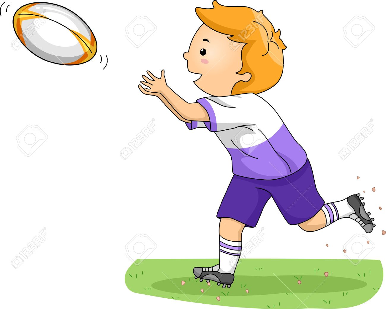 Illustration Of A Boy Catching A Rugby Ball Royalty Free Cliparts