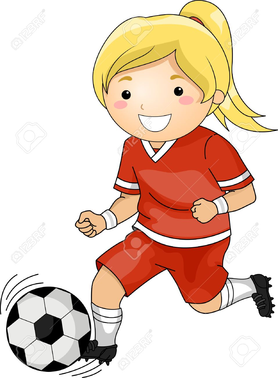 illustration of a girl playing soccer royalty free cliparts vectors rh 123rf com girl soccer goalie clipart female soccer clipart