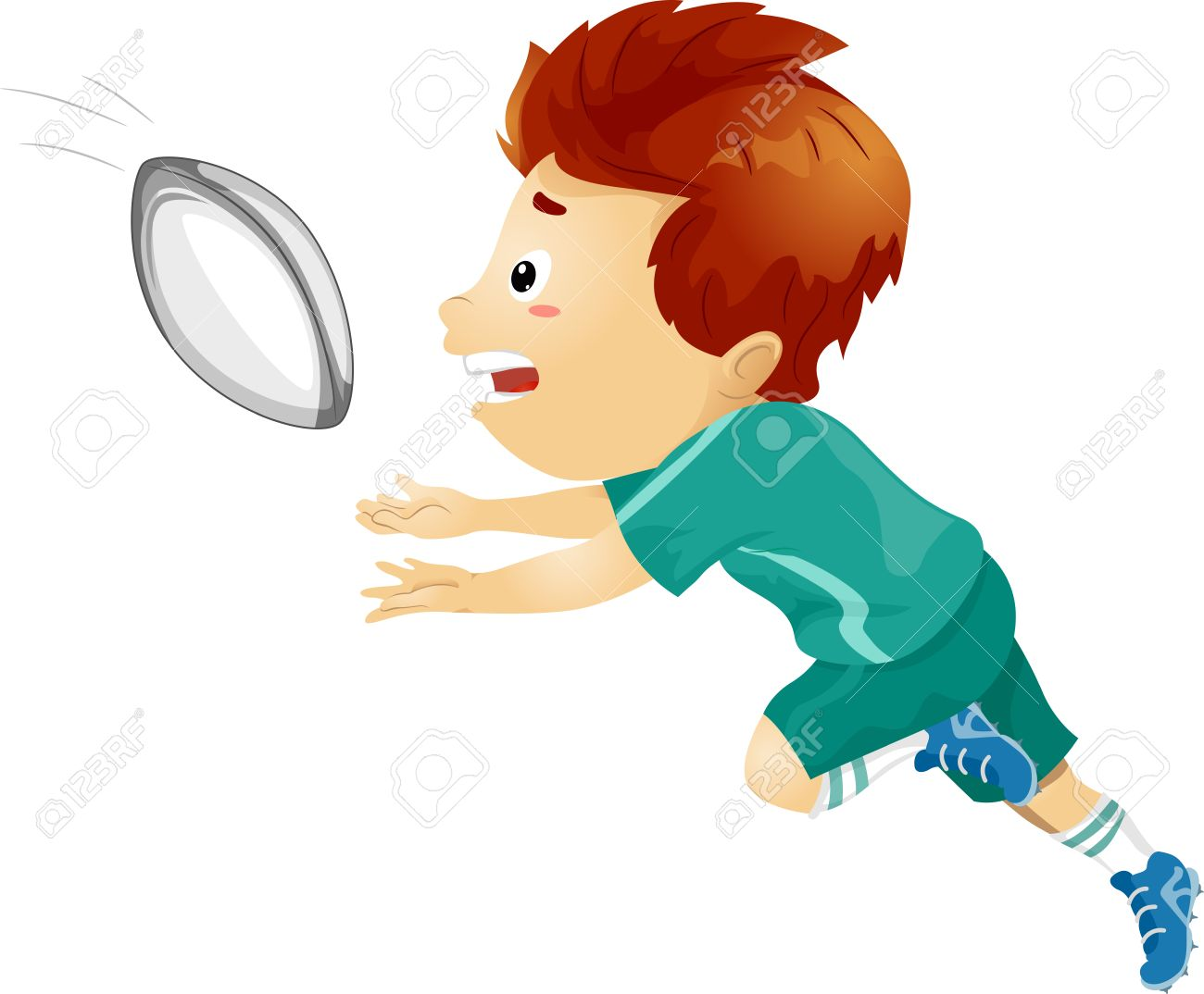 illustration of a boy catching a rugby ball royalty free cliparts rh 123rf com rugby clipart pictures rugby clipart borders