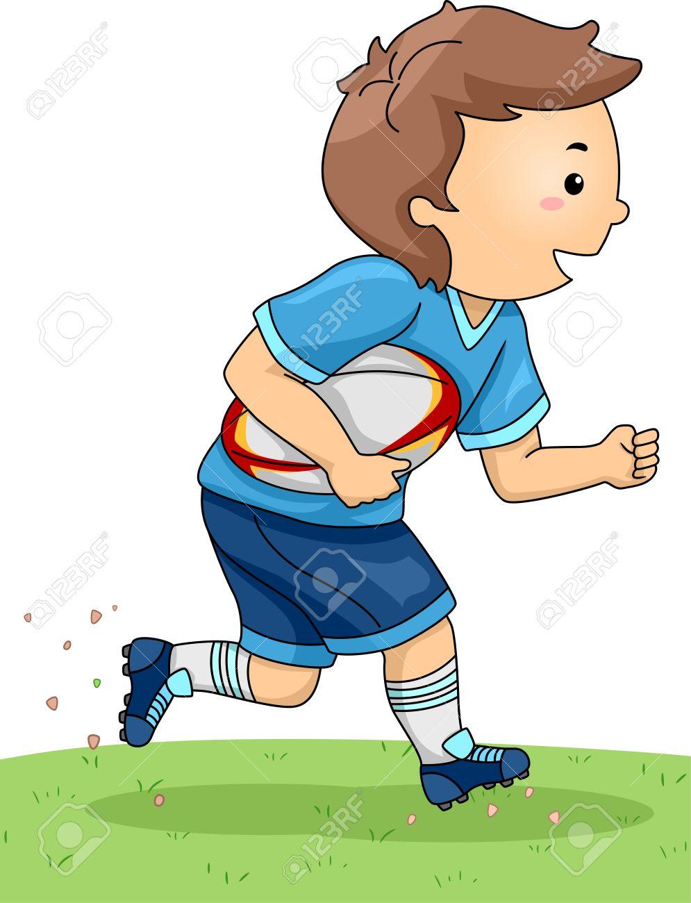 フィールドを渡って動くラグビー ギアに身を包んだ少年のイラストの