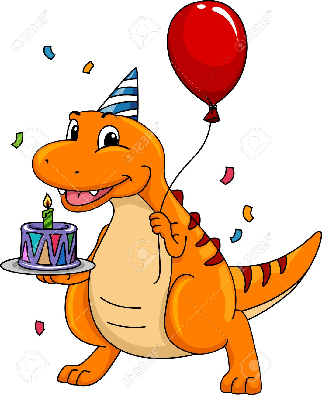 Mascot Illustration Featuring A Dinosaur Carrying A Birthday