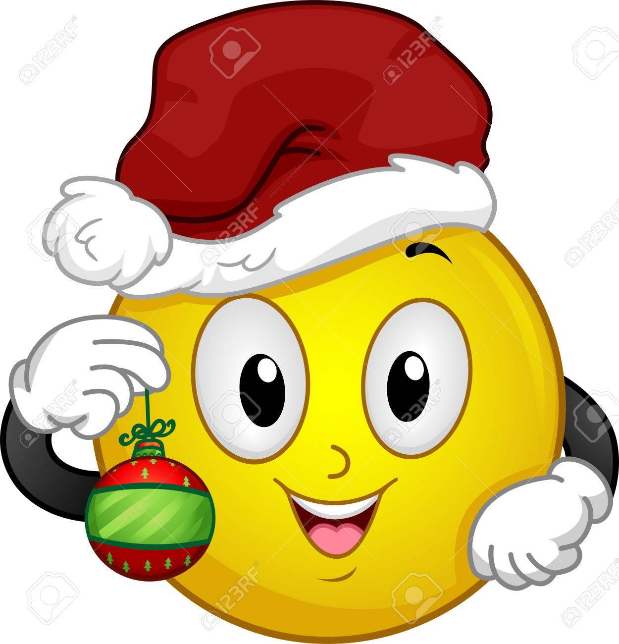 Illustration Von Einem Smiley Trägt Einen Hut Weihnachten Die Eine ...