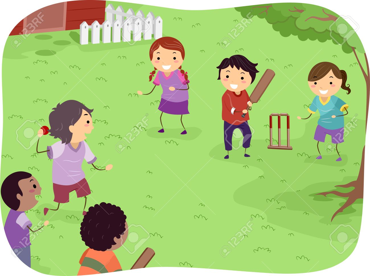 Illustration Featuring Kids Playing Cricket Royalty Free Cliparts, Vectors,  And Stock Illustration. Image 31678306.
