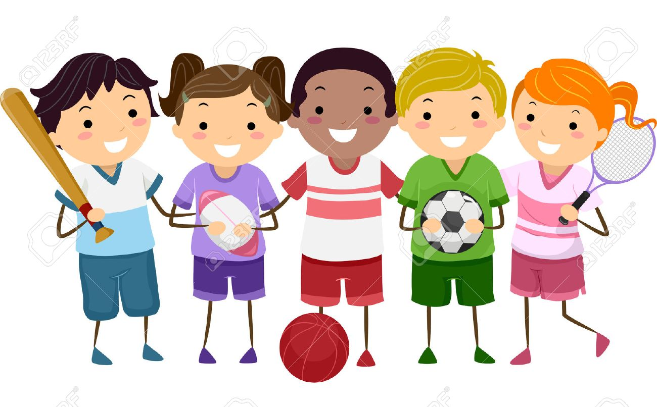 illustration featuring kids holding different sports gear royalty rh 123rf com sports cliparts free download sports clipart borders