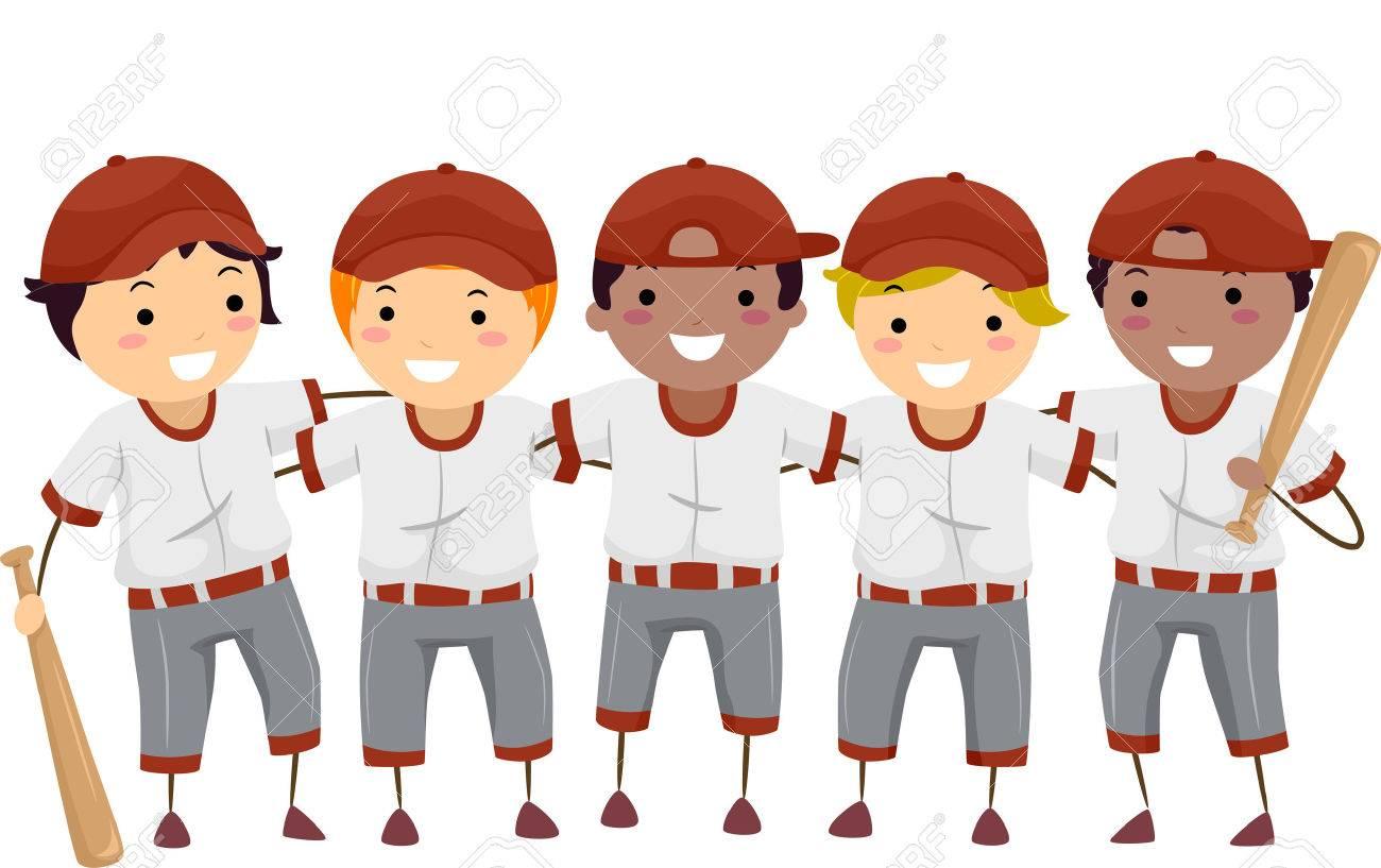 illustration featuring a team of baseball players royalty free rh 123rf com cartoon baseball players cartoon baseball player clipart