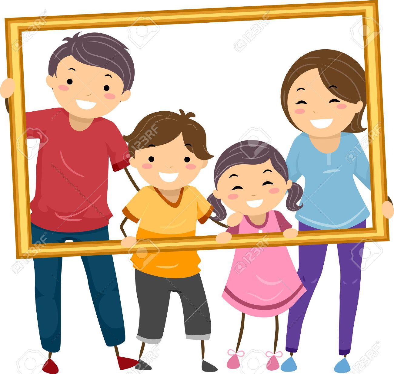 Clipart Famille illustration doté d'une famille heureuse tenant un cadre creux clip