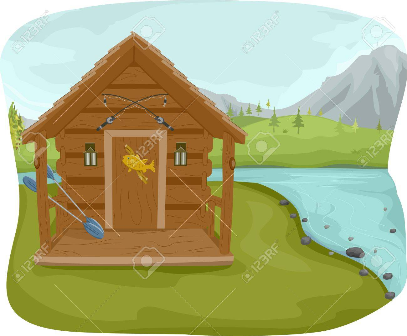 Illustration Featuring A Fishing Cabin Near Lake Stock Vector