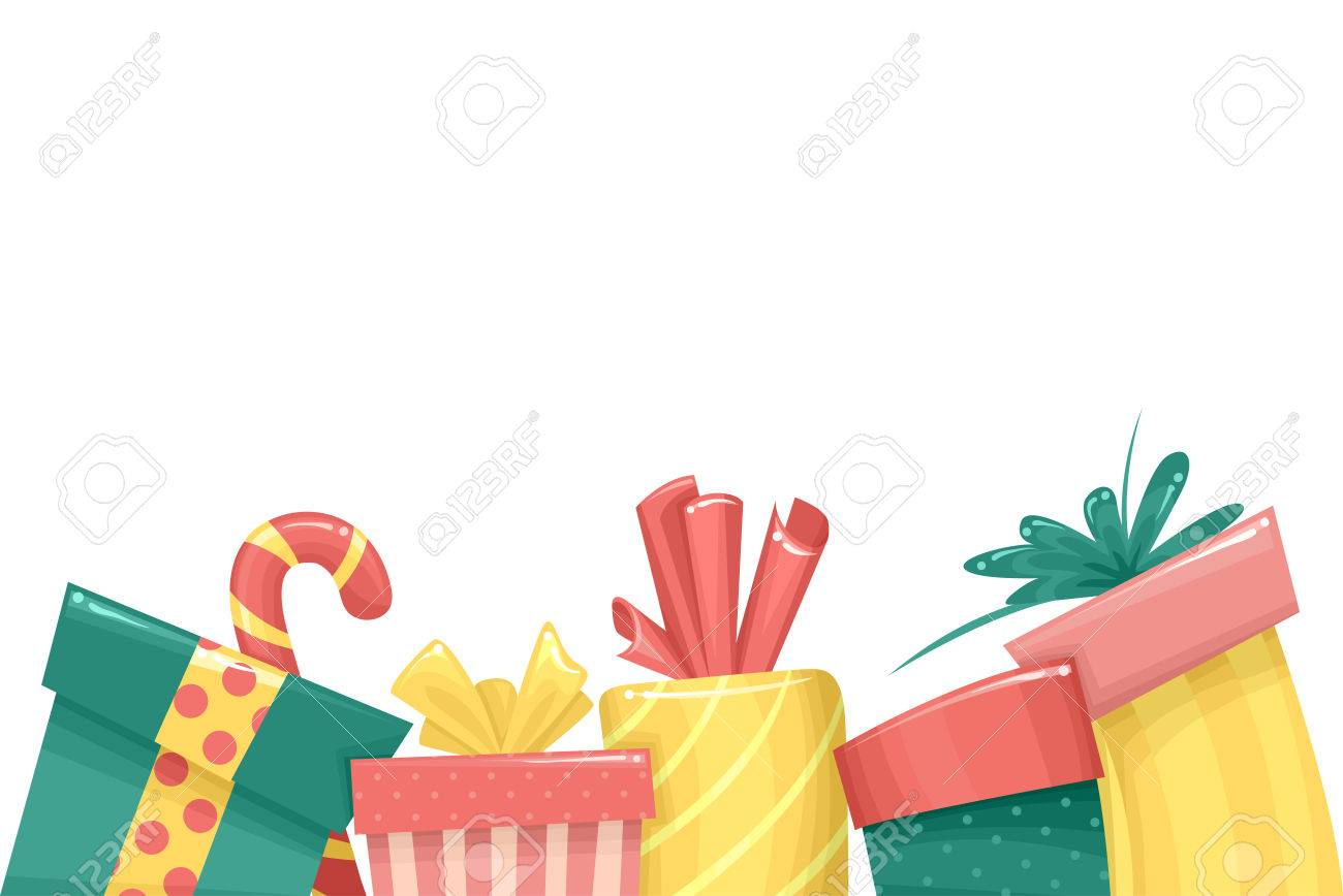 Border Illustration Featuring Christmas Gifts Stock Vector
