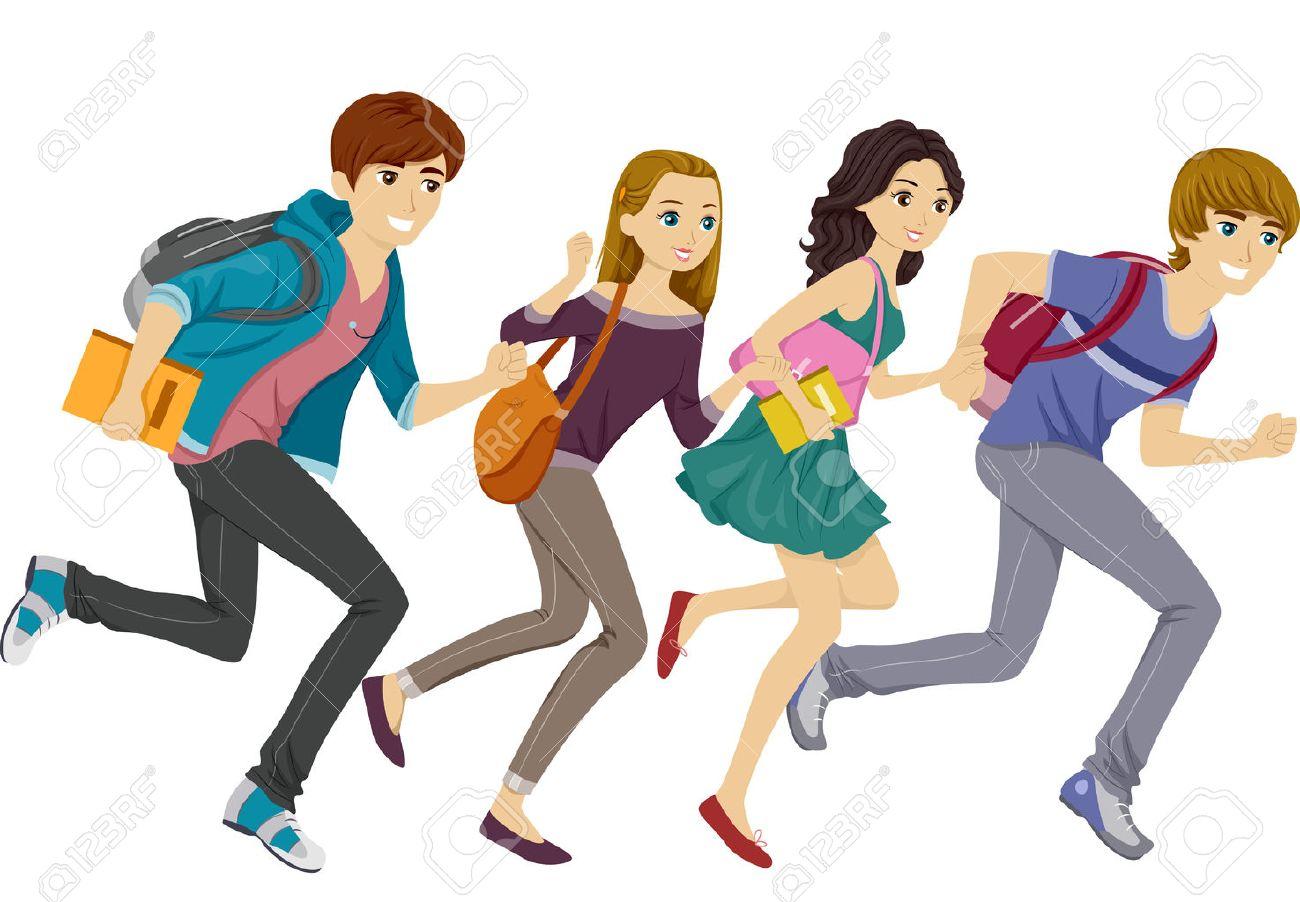 Illustration Featuring Teen Students Running - 32751027