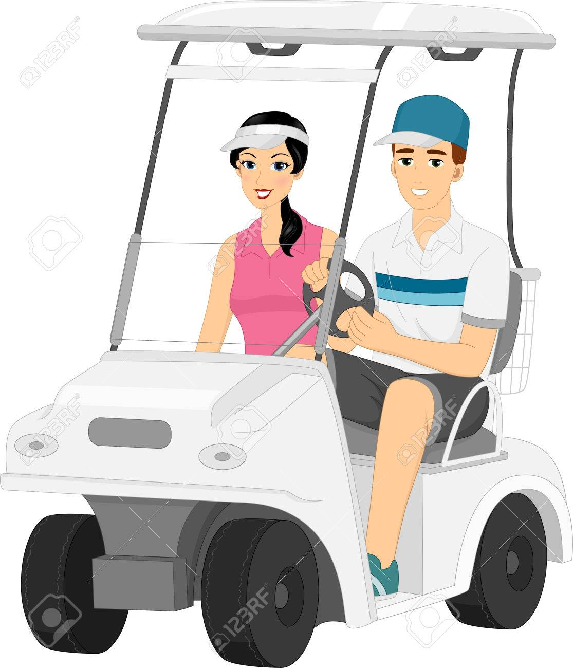 Illustration Featuring A Couple Driving Around In A Golf Cart ... on url clipart, doc clipart, sql clipart,