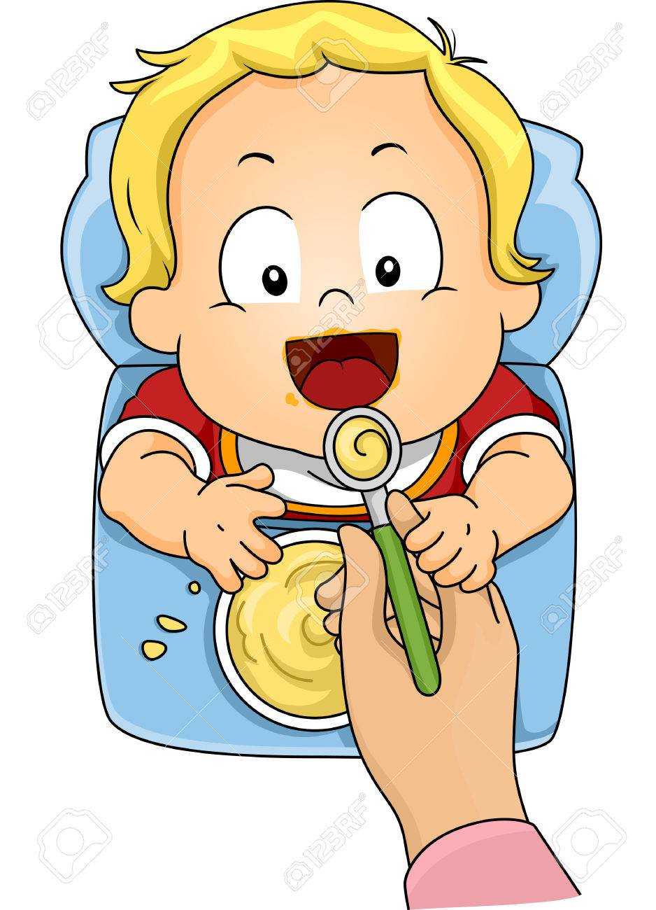 Illustration Featuring a Baby Boy Being Fed with Instant Cereal - 32986094
