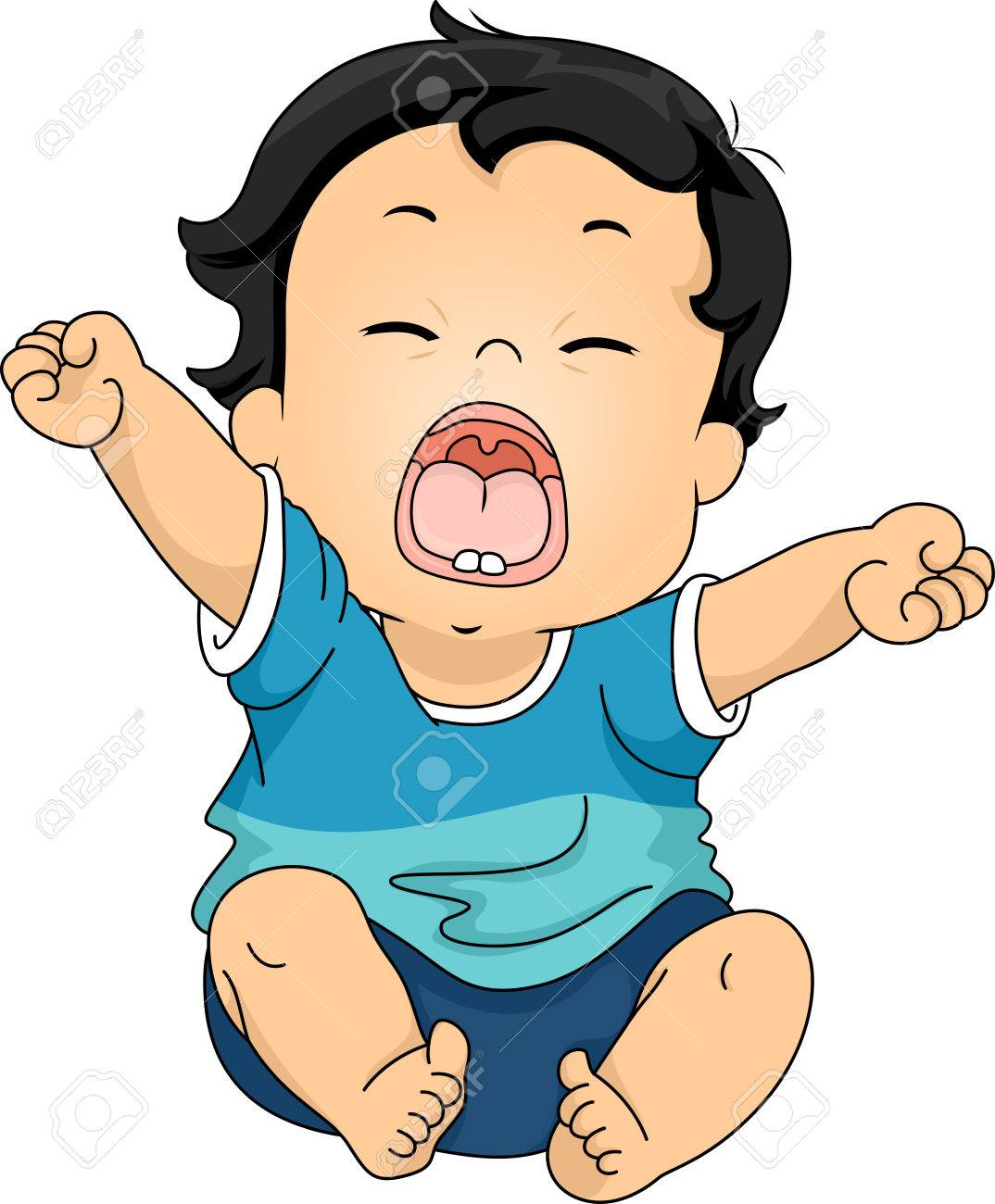 Illustration Featuring A Baby Yawning While Stretching His Arms ... for Clipart Yawn  166kxo