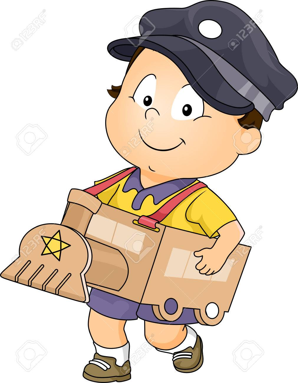 Illustration Featuring A Baby Boy Wearing Makeshift Train Costume Stock Vector