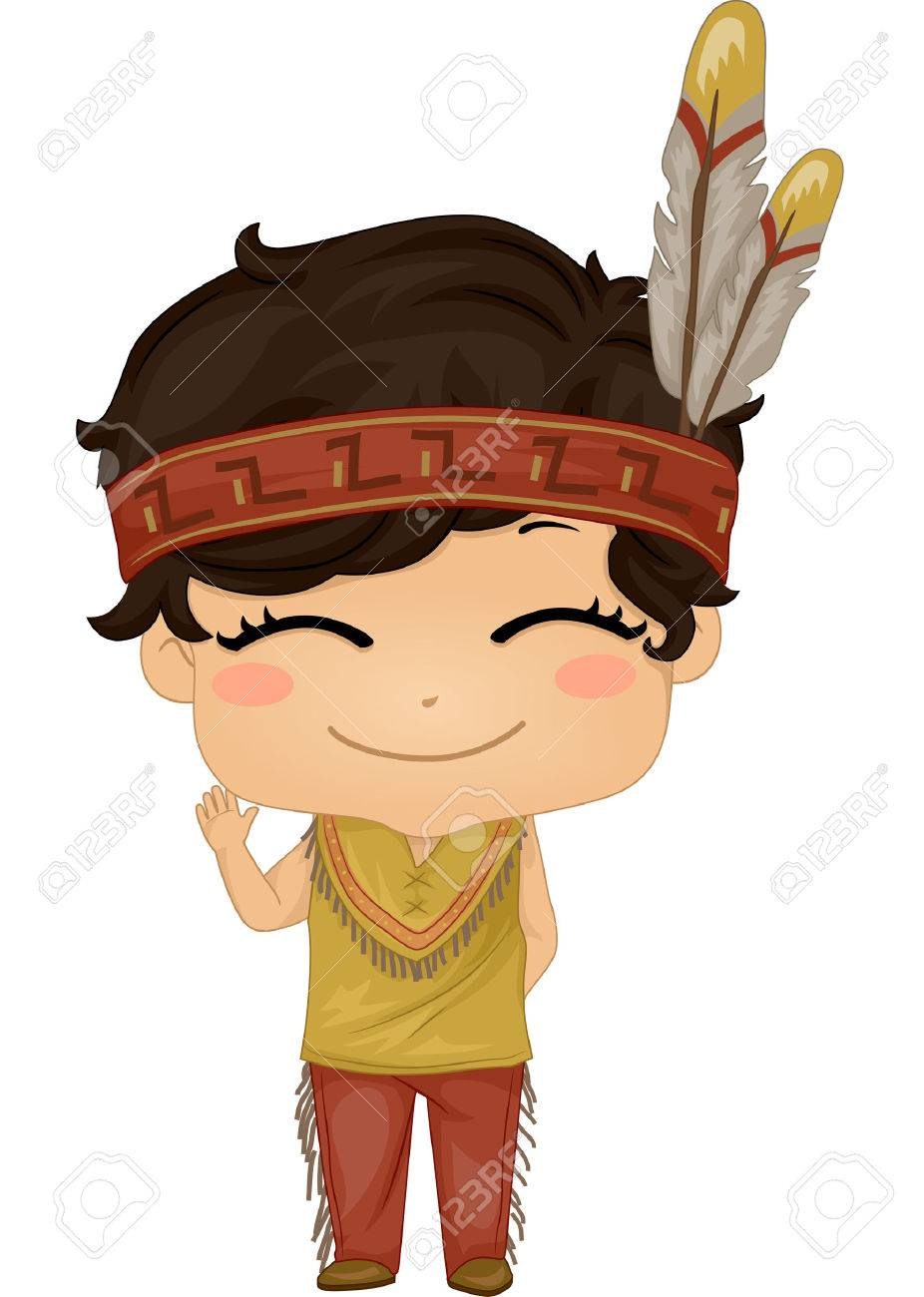 Illustration Featuring a Boy Wearing a Native American Costume Stock Vector - 33001597  sc 1 st  123RF.com & Illustration Featuring A Boy Wearing A Native American Costume ...