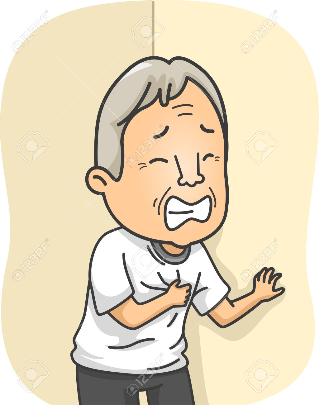 illustration featuring an elderly man having a heart attack royalty rh 123rf com Heart Attack Survivor Cartoon Character Having a Heart Attack