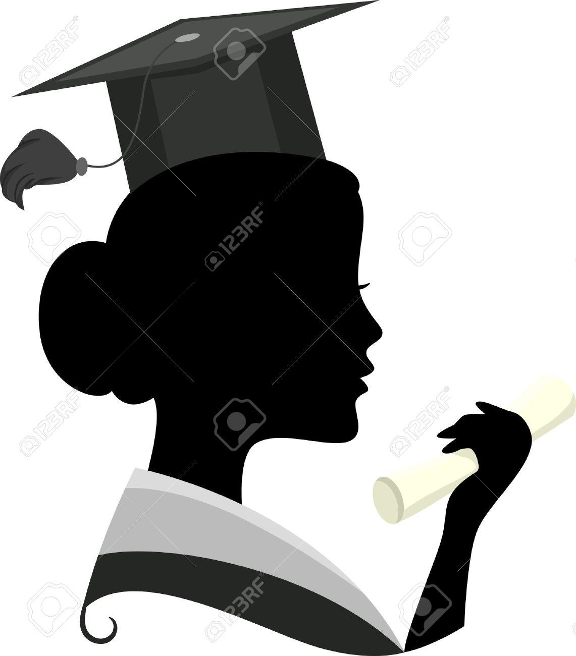 36cc32b82 Ilustración con la silueta de una mujer que llevaba un traje de graduación  Foto de archivo