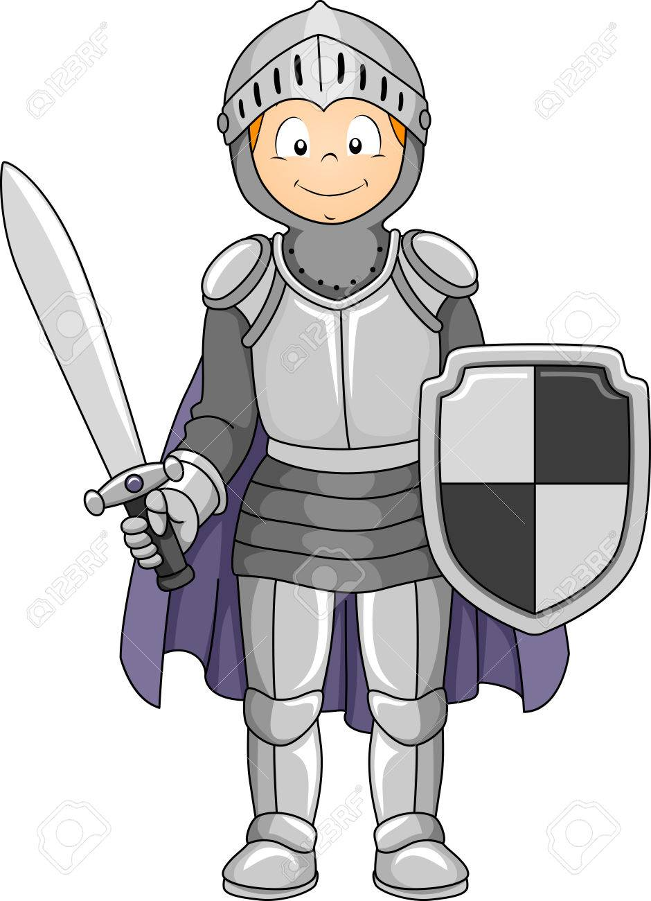 Illustration Featuring a Boy Wearing a Knight Costume - 33520446