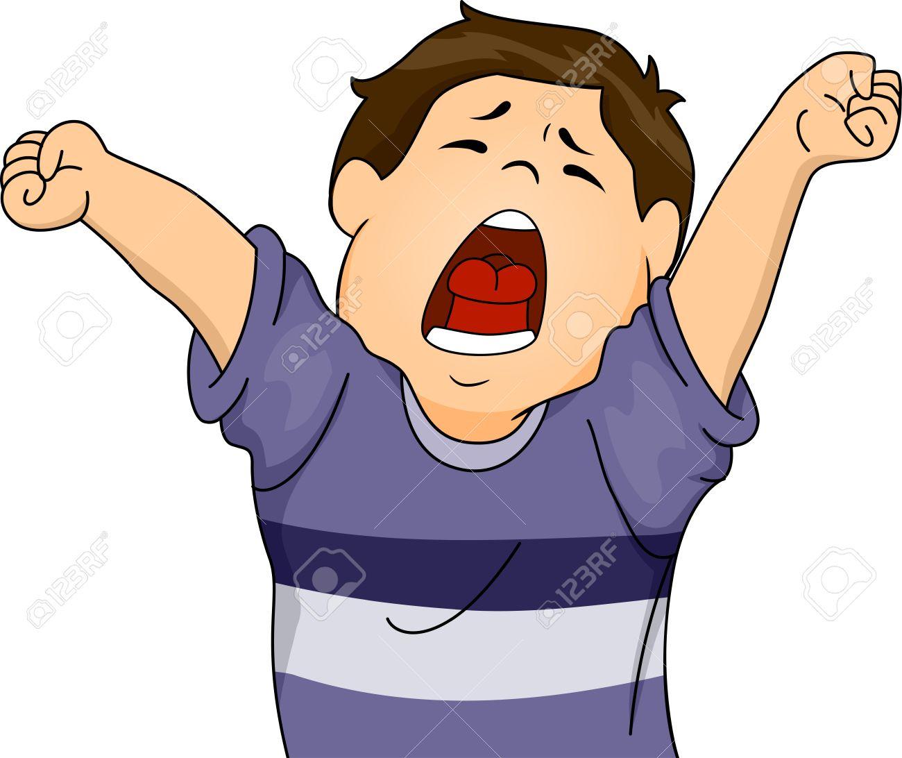 illustration featuring a boy letting out a big yawn while stretching rh 123rf com yawn clipart black and white boy yawn clipart
