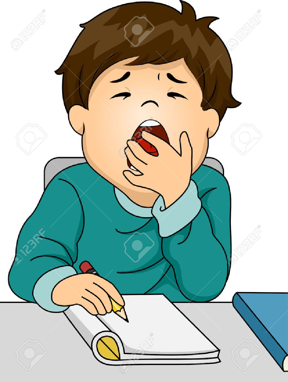 Illustration Featuring A Boy Letting Out A Big Yawn While Studying ... for Clipart Yawn  173lyp