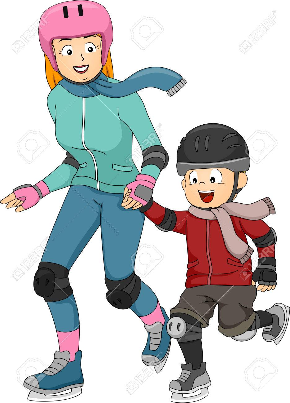 Illustration Featuring A Mother Teaching Her Son How To Ice Skate Stock  Vector  33819424