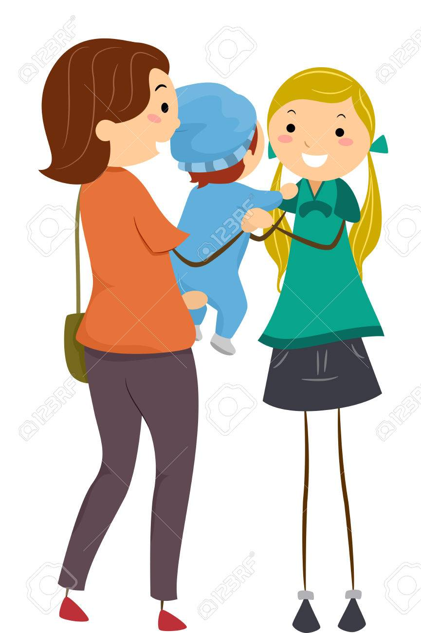 illustration featuring a mother handing her baby to a babysitter rh 123rf com babysitting clip art images babysitting clip art free
