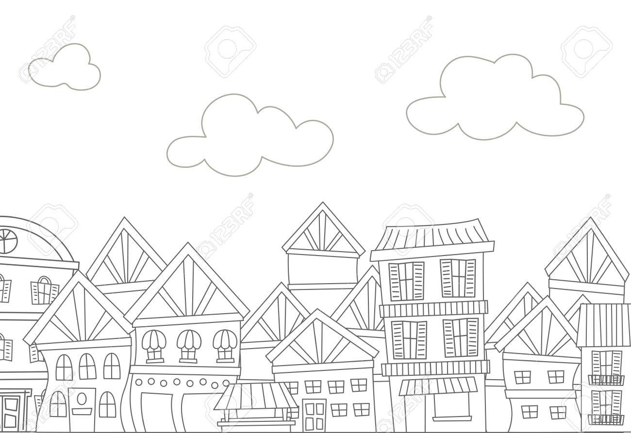 Illustration Of A Ready To Print Coloring Page Featuring Row Apartments Stock Vector