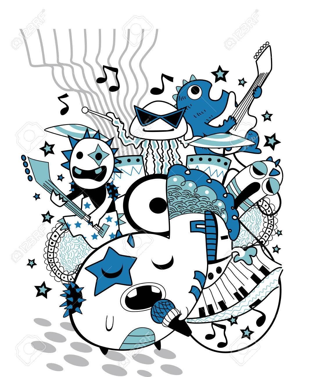 かわいいモンスター バンドで演奏のグループの落書きイラストのイラスト素材 ベクタ Image 34452643