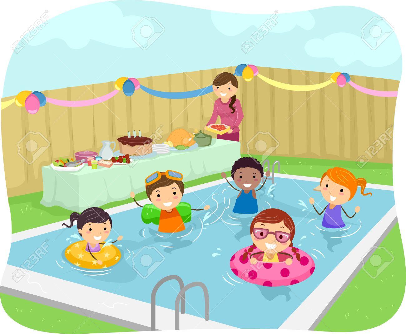 Illustrazione Di Bambini Che Hanno Una Festa In Piscina Nel ...